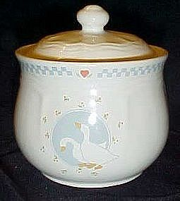 Moonlight Ten Strawberry St. sugar bowl,white geese