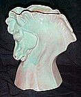 Mauve and turquoise agate horse head vase California
