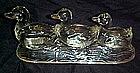 Three swimming ducks, K.R. Haley Glassware Co. glass