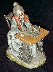 H/P bisque figurine, Grandma at the tredle machine