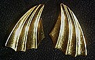 Vintage Monet gold tone earrings, fan / shooting star