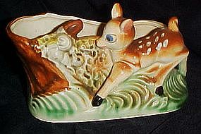Vintage Bambi deer planter with stump and squirrel