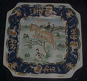 Heavy enameled porcelain hunt scene dish