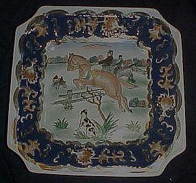 Heavy enameled porcelain hunt scene dish