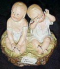 Antique Heubach bisque twins, piano babies figurine