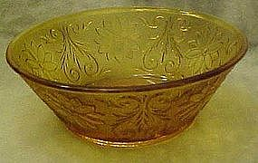 Tiara amber / gold sandwich glass 8 3/8