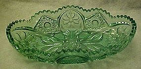 Tiara sea mist green pressed daisy pattern celery dish