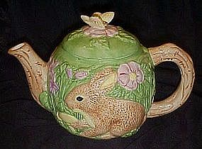 Brown rabbit in the garden, ceramic teapot, WCL
