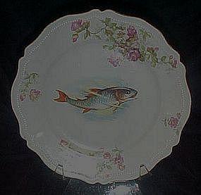 O&EG Royal Austria antique floral s & fish, plate