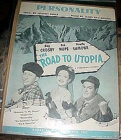 Personality sheet music, from Road to Utopia, 1945