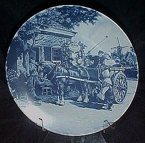 Holland delft  Blauw plate, Shire horse and carriage