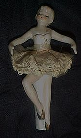 Antique dresden style ballerina, for music box or cake