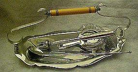 Krome Kraft bar tray, Bakelite handle, Ice Chip chop