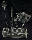 Retro  clear Acrylic / lucite Bar tool set, in caddy