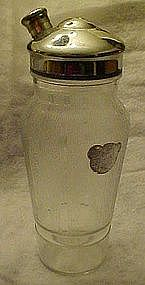 Vintage glass cocktail shaker/ pourer with strainer