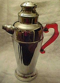 Vintage deco chrome cocktail shaker, bakelite handle