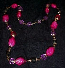 Vintage shades of fuschia beaded necklace