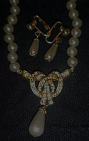 Vintage Sarah Coventry pearl drop necklace and earrings