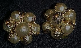 Vintage Japan pearl textured cluster clip earrings