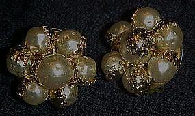 Vintage Japan pearl textured cluster clip earrings