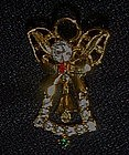 Rhinestone angel pin with bell