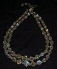Vintage  double aurora borealis crystal beads necklace