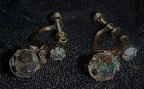 Sparkling aurora borealis  crystal scew back earrings