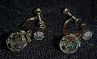 Sparkling aurora borealis  crystal scew back earrings