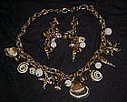 Great seashore Charm necklace and matching earrings