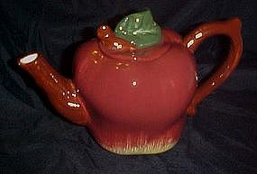 Hand painted ceramic  red apple teapot