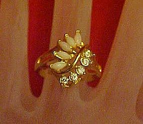 Vintage Uncas costume ring with opals and rhinestones