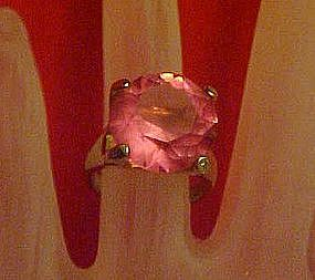Vintage  costume pink ice ring ,size 5