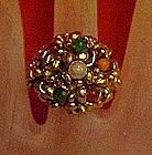 Vintage adjustable ring, antiqued goldtone / stones