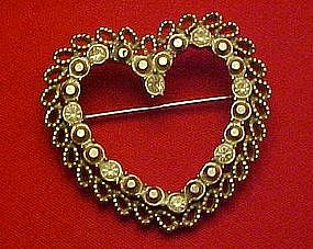 Large rhinestone heart pin / pendant