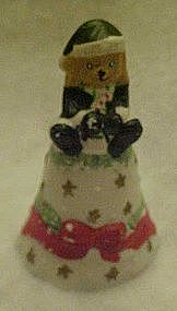 Porcelain Christmas bell, with Santa teddy bear