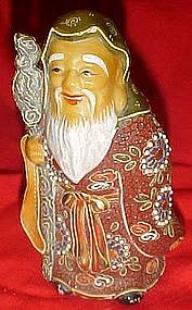 Old (1950s) Japanese Kutani Old Man, moriage decoration