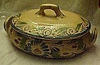 Vintage hand painted Mexican  oval casserole w/ lid