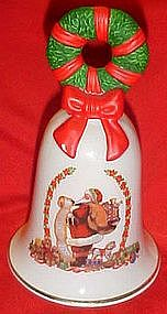 1995 Avon  porcelain Christmas bell, Wreath and Santa