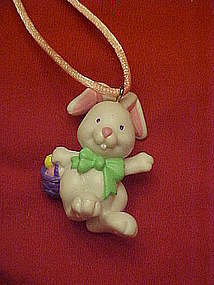 Avon white bunny with Easter basket, pvc ornament