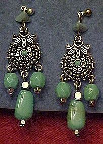 Avon Western turquoise and silver dangle earrings
