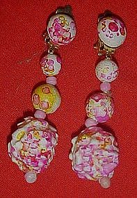 Sixties Mod psychedelic dangle ball  earrings
