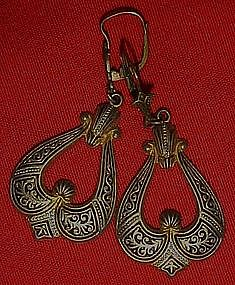Vintage damascene pierced  earrings