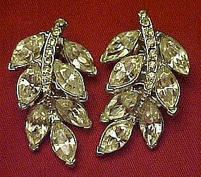 Vintage Sparkling rhinestone leaf earrings