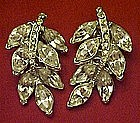 Vintage Sparkling rhinestone leaf earrings