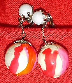 Sixties Mod Psychedelic ball and chain earrings