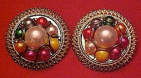 Large vintage button earrings with multi color pearls