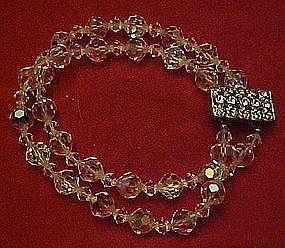 Old aurora borealis two strand bracelet, rhinestones