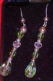 Blue aurora crystal dangle  pierced earrings