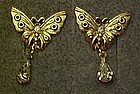 Avon butterfly earrings, with pear shape CZ drops