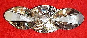 Sterling  barette with abalone, mother of pearl